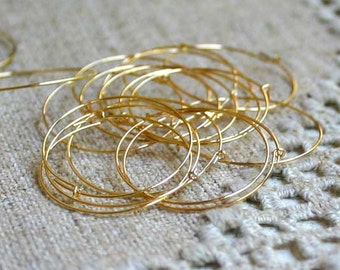 100pcs Earring Finding Beading Hoop Gold-Plated Brass 25mm Hoop 24 Gauge