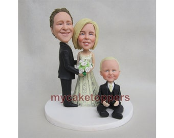 family wedding cake topper, flowers boy, flower girl, kids, kid, custom family cake topper