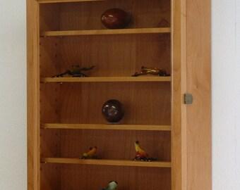 Curio Wall Display Cabinet-Alder Hardwood
