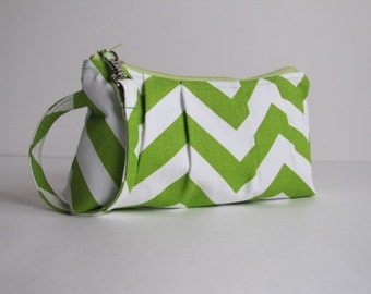 SALE- Bridesmaid Gift, Wristlet Clutch Zipper Pouch, Bridesmaid Wristlet Clutch - Lime Green Chartreuse Chevron