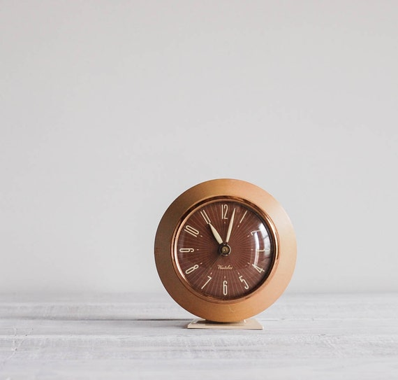 1950s Westclox Kendall Alarm Clock Mid Century Wood Electric