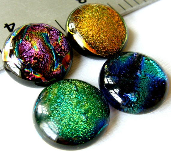 Dichroic Fused Glass Cabochons 18 mm Mix of 4