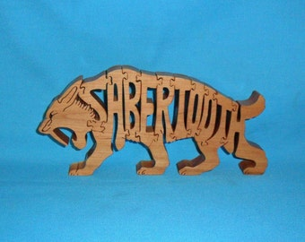 Sabertooth Tiger Handmade Scroll Saw Wooden Puzzle