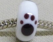 Handmade Glass Lampwork Bead Large Hole European Charm Bead Glass Paw Print Bead, White with Black Paw Prints