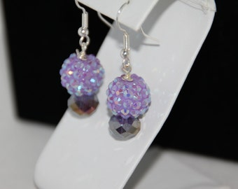 Lavendar Purple Dangle Crystal Czech Beaded Earrings