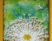 Dandelion Handmade Glass and Wood 5 Inch Square Wall Blox - GeoForms Collection - Love