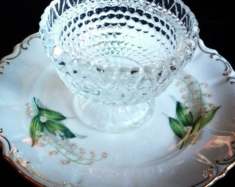 Vintage Hobnail Glass and China Vase Jewelry Holder Mother's Day