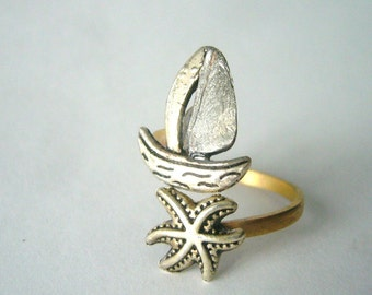 silver ship and shell wrap ring, adjustable ring, animal ring, silver ring, statement ring