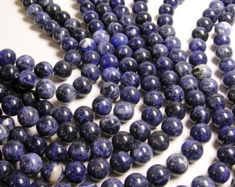 Sodalite - 12 mm round beads -1 full strand - 33 beads - A quality