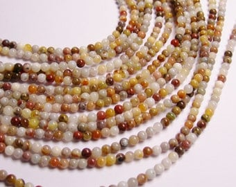 Bamboo agate - 4mm round beads -1 full strand - 97 beads - A quality