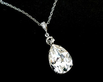 Crystal Swarovski necklace Bridal Rhinestone necklace teardrop necklace Statement Bridal necklace Swarovski Crystal wedding necklace ARIA