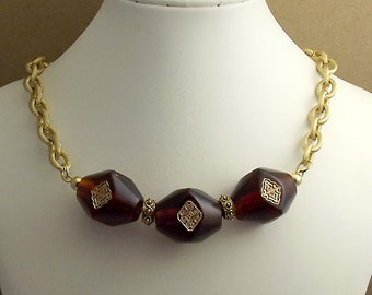 Amber Brown Bar Beaded Pendant Necklace, Thick Gold Chain
