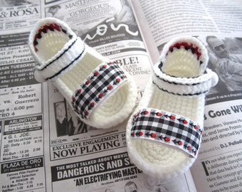 Black & White Plaid Crochet Baby Sandals - 4 Sizes - Ready to Ship