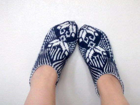 Home Slippers-dark(navy) blue and Cream-Hand knit women house slipper-Traditional Turkish Design