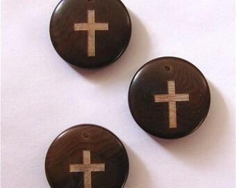 Christian Cross Pendant, Two Tagua Pendants, EcoBeads, Natural Beads, Organic Beads, Vegetable Ivory Beads