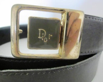 French VTG DIOR grey leather belt Paris