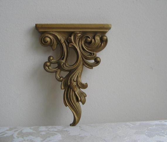 Vintage Gold Ornate Syroco Wall Shelf Sconce Decorative