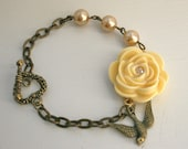 Swarovski Yellow Flower Bracelet Bronze Pearls Flying Swallow Bridal Vintage Style...Burst of Light  LAST ONE