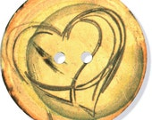 Large Coconut Button Daydream Heart Swirl Sewing Costuming Clothing Crafts Bookbinding Handbag
