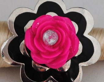 Floral Ring/Statement Ring//Black/Pink/Silver/OOAK/Gift For Her/Spring Jewelry/Mother's Day/Adjustable/Under 15 USD