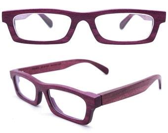 TAKEMOTO LOVE-WOOD handmade purple  wood wooden eyeglasses glasses frame Free shipping