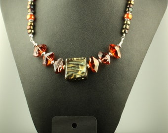 Hollywood Glam Statement Necklace Jewelry Custom Design OOAK  Raku 2 Sided Sterling Silver Pendant Necklace and Earrings Set