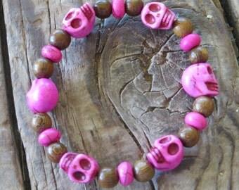 Hot Pink Howlite Skull Bracelet