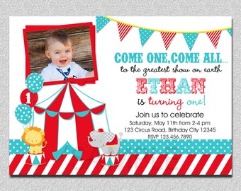 Circus Birthday Invitation,  1st Birthday Circus  Party Invitation, Circus Birthday Party, Carnival Invitation, Kids Birthday Invitations