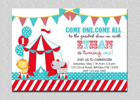 Carnival Circus Birthday Invitation Circus Carnival Birthday Party