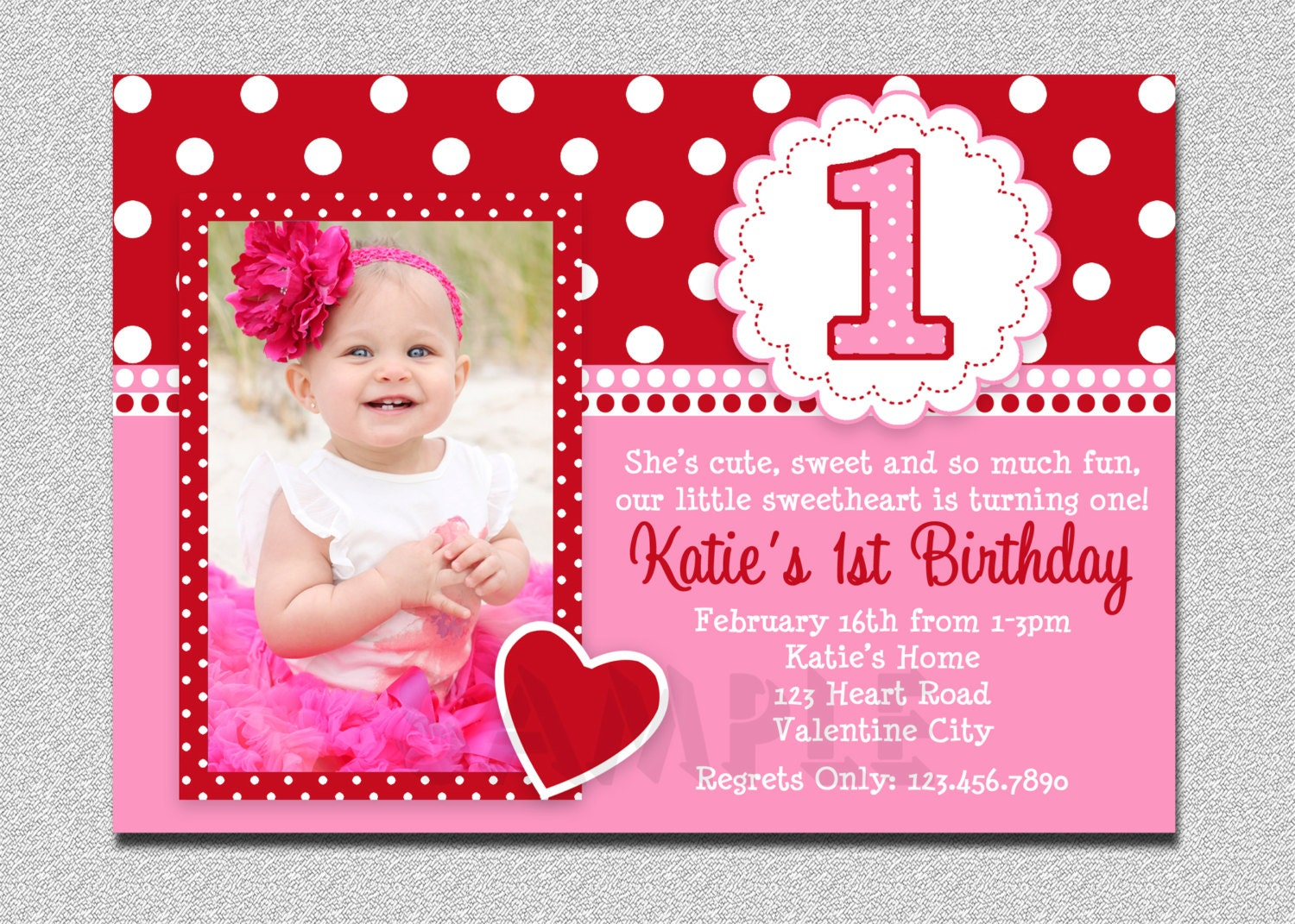 Valentines Birthday Invitation 1st Birthday Valentines – Pink 1st Birthday Invitations