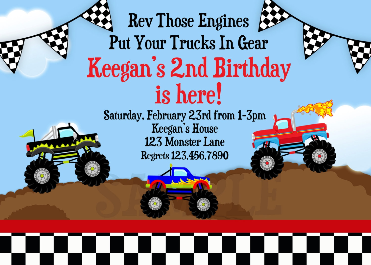 Nifty image with monster truck birthday invitations free printable