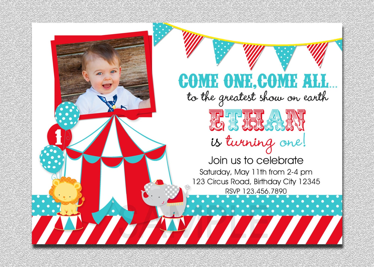 circus birthday invitation 1st birthday circus party, Birthday invitations
