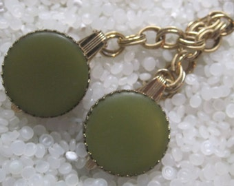 sweater guard vintage  sweater clip Olive green disk