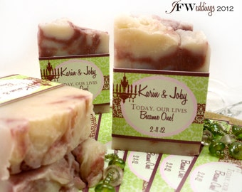 20 Vegan SOAP Favors ~  Damask Labels or Custom Designs ~ Wedding or Bridal ~ Handmade in 7 days ~ with Complimentary Cellophane Bags