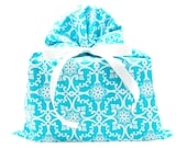 Big Blue & White Elegant Fabric Gift Bag for Wedding Shower or Any Occasion