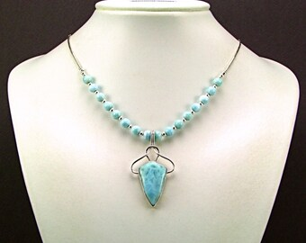 Stunning Larimar & Sterling Silver Statement Necklace - N641
