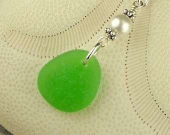 Green Sea Glass Necklace With Pearl Sterling Silver
