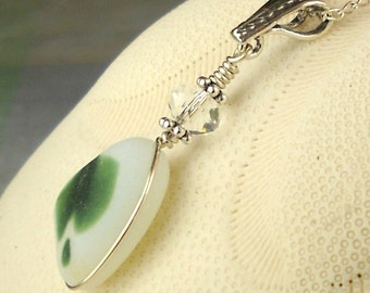 Davenport Sea Glass Necklace, Beach Glass Necklace, Seaglass Necklace, Beach Jewlery, Genuine Beach Glass, Green Sea Glass Pendant, Gift Mom