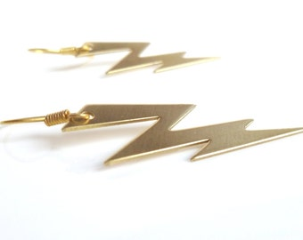 Gold Lightning Earring - SHAZAM - raw brass lightning bolt weather dangles on simple ear hooks - Jagged High Voltage Storm