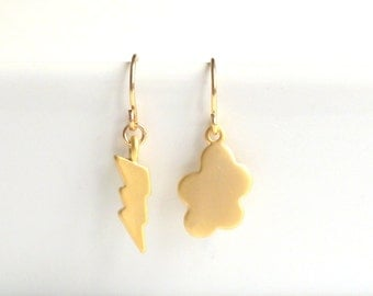 Storm Cloud Earrings - little gold lightning bolt and fun mismatched puffy cloud dangles on delicate gold plated ear hooks