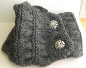 Gray knitted Cowl, Cozy Collar, Dark Gray Chunky Neck Warmer, Gray Knitted Scarf, Winter Fashion 2015
