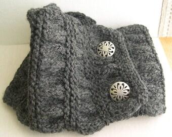 Gray knitted Cowl, Handknit neckwarmer, Cozy Collar, Dark Gray Neck Warmer, Gray Knitted Scarf, Winter Fashion, made in America
