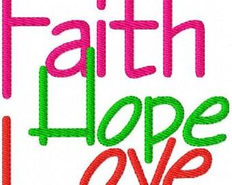 Faith // Hope // Love // Machine Embroidery Design // Joyful Stitches