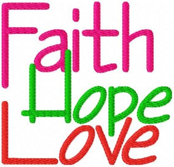 Embroidery Design Faith // Hope // Love // // Joyful