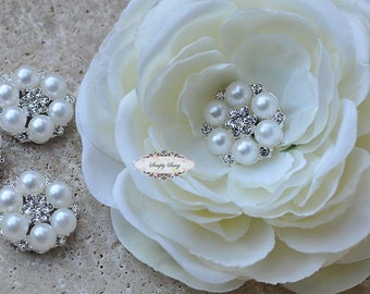 10 pcs. RD264 Pearl Rhinestone Flatback Embellishment Button Brooch DIY Bridal Brooch Wedding Jewelry Invitations Bouquet