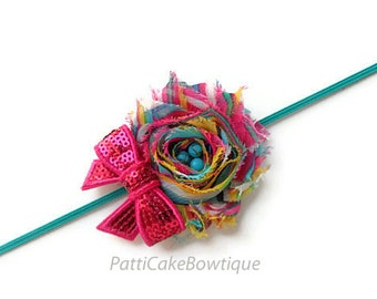 Shabby Chic Tye Dye Flower Headband, Baby Headband, Rainbow Flower Headband, Turquoise Headband, Girls Headband, Newborn Headband