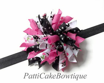 Mad About Skulls Korker Bow, Korker Hair Bow Headband, Baby Girl Hair Bow, Black Headband, Korker Hair Bow Clip, Hair Bow for Toddler, 809