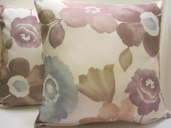 Pillow Covers - PAIR - Lavender Taupe Light Blue Big Flower Design - 18 Inch - Spring Easter Decor