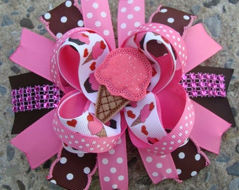 Ice cream Hair Bow Pink and Brown Large Hair Bow