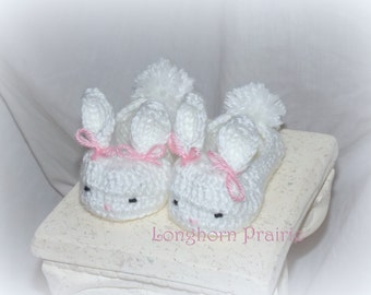 Bunny Booties crocheted (girl or boy)